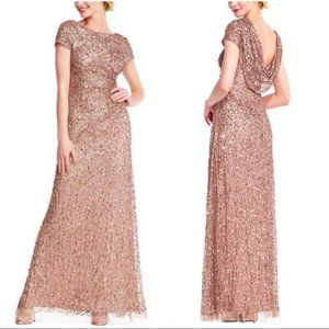 Adrianna Papell Rose Gold Cowl Back Beaded Gown 6P